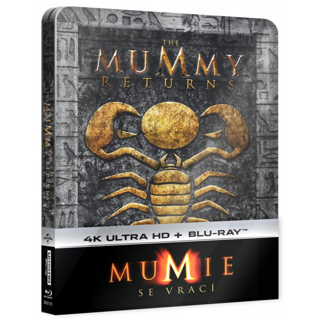 Blu-ray Mumie se vrací, The Mummy Returns, UHD + BD, Steelbook, CZ dabing